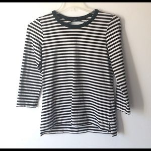 Kate Spade Striped Black & White Top With Bow M